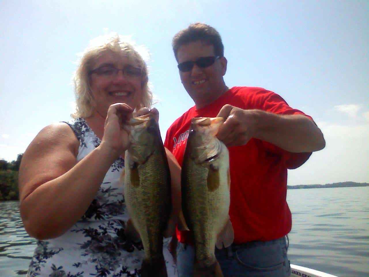 Fishing largemouth Bass double